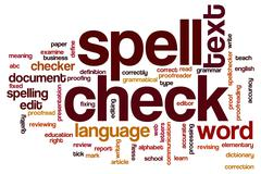 spell check word cloud - stock illustration