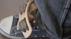 The musician. Percussion foot attached at the front. Stock Footage