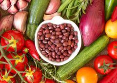 dry organic azuki beans and vegetables - stock photo