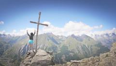 Hiker celebrate success Stock Footage