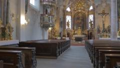 Shoot with steady cam inside a church - stock footage