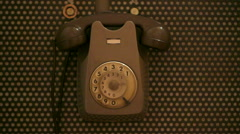 Man using vintage telephone Stock Footage