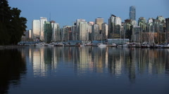 Twilight Downtown Vancouver, Coal Harbor Stock Footage