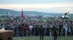 Crowd on rock concert open air Stock Footage