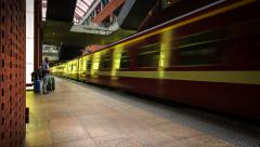 Trains ariving at Central Station Antwerp Stock Footage