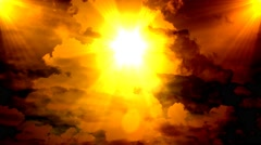 Golden Heavenly Sun Light Sky Clouds Stock Footage