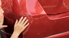 Woman and the car body damage. Stock Footage