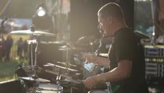Drummer Rock concert open air Stock Footage