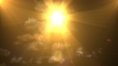 Golden Heavenly Sun Light Sky Clouds Stock Footage