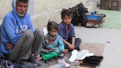 Poor family in Leh, India Stock Footage