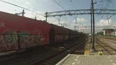 Cargo train passing through Amsterdam Stock Footage