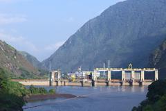 agoyan hydroelectric power plant in ecuador - stock photo