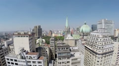 Aerial view from Catedral Da Se in Sao Paulo, Brazil Stock Footage