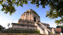 Wat Chedi Luang, a Buddhist temple in Chiang Mai, Thailand - stock footage
