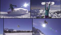 MONTAGE: Snowboarding fun in the snowboard park Stock Footage