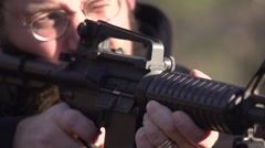 M4 rifle firing 240fps slow motion Stock Footage