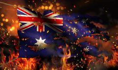 Australia burning fire flag war conflict night 3d Stock Illustration