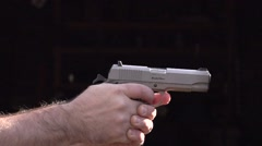 .45ACP pistol firing - 480fps slow motion 02 Stock Footage