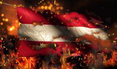 Austria burning fire flag war conflict night 3d Stock Illustration