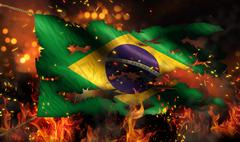 brazil burning fire flag war conflict night 3d - stock illustration