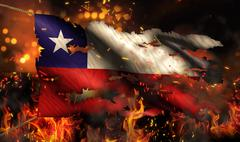 chile burning fire flag war conflict night 3d - stock illustration