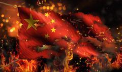 China burning fire flag war conflict night 3d Stock Illustration