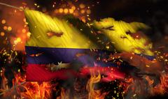 colombia burning fire flag war conflict night 3d - stock illustration