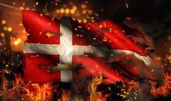 Denmark burning fire flag war conflict night 3d Stock Illustration