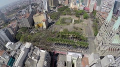 Stock Video Footage of Aerial view from Catedral Da Se in Sao Paulo, Brazil