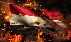 egypt burning fire flag war conflict night 3d - stock illustration