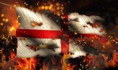 England burning fire flag war conflict night 3d Stock Illustration