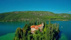 Island Visovac, aerial shot Stock Footage