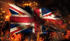 United kingdom burning fire flag war conflict night 3d Stock Illustration