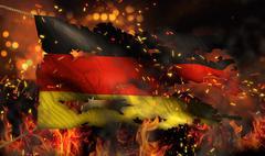 germany burning fire flag war conflict night 3d - stock illustration