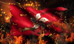 hongkong burning fire flag war conflict night 3d - stock illustration