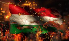 Hungary burning fire flag war conflict night 3d Stock Illustration