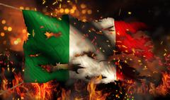 Italy burning fire flag war conflict night 3d Stock Illustration