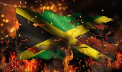 Jamaica burning fire flag war conflict night 3d Stock Illustration