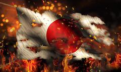 japan burning fire flag war conflict night 3d - stock illustration