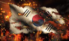 South korea burning fire flag war conflict night 3d Stock Illustration