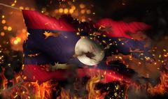 laos burning fire flag war conflict night 3d - stock illustration
