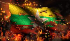 Myanmar burning fire flag war conflict night 3d Stock Illustration