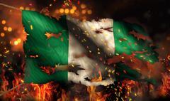 Nigeria burning fire flag war conflict night 3d Stock Illustration