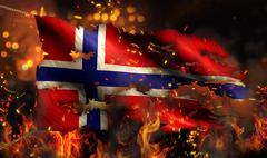 norway burning fire flag war conflict night 3d - stock illustration