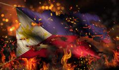 philippines burning fire flag war conflict night 3d - stock illustration