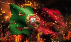 Portugal burning fire flag war conflict night 3d Stock Illustration