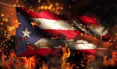 puerto rico burning fire flag war conflict night 3d - stock illustration