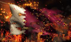 Qatar burning fire flag war conflict night 3d Stock Illustration