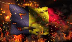 romania burning fire flag war conflict night 3d - stock illustration
