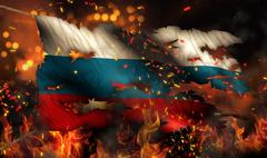 russia burning fire flag war conflict night 3d - stock illustration
